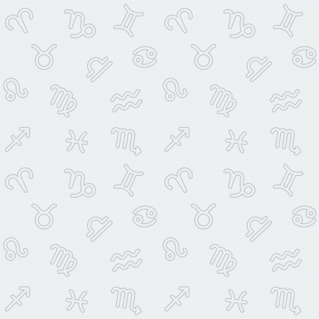 Abstract seamless background with outlined grey Zodiac signs pattern on light  Vector