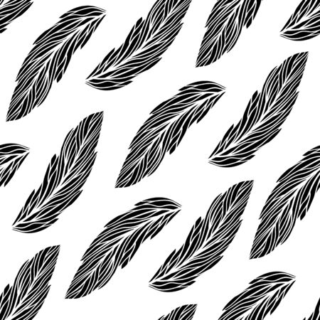 Floral pattern with leaves in black and white colors  Seamless vector background  Vector