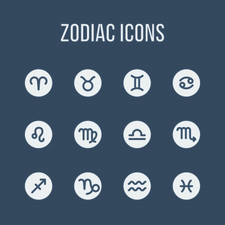 Zodiac signs in flat style. Set of simple round icons.  Vector illustration. Vector