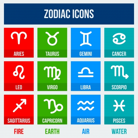 Zodiac signs in flat style. Set of colorful square icons.  Vector illustration. Vector