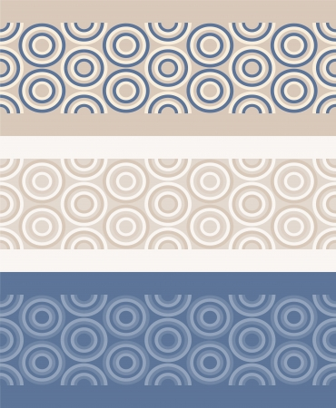 Three borders with fashion abstract geometrical pattern with circles. Seamless vector background. Set of 3 color variation.