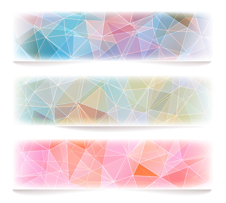 Set of three banners with abstract polygonal geometric background. Vector