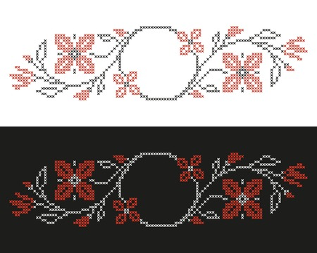 cross stitch: Design elements for cross-stitch embroidery in Ukrainian traditional ethnic style  Red and black, vector illustration