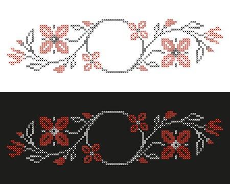punto cruz: Los elementos de diseño para el bordado de punto de cruz en estilo tradicional de Ucrania Red étnica y negro, ilustración vectorial Vectores