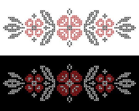Design elements for cross-stitch embroidery in Ukrainian traditional ethnic style  Red and black, vector illustration