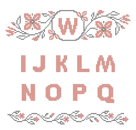 rushnyk: Design elements for cross-stitch embroidery  Red and black, vector illustration  Floral frame for one letter and letters I-Q  Illustration