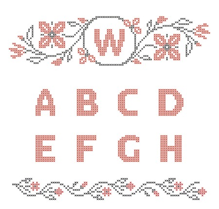 ah: Design elements for cross-stitch embroidery  Red and black, vector illustration  Floral frame for one letter and letters A-H  Illustration
