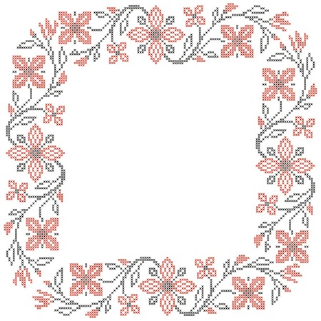 Floral frame for cross-stitch embroidery in Ukrainian traditional ethnic style  Red and black, vector illustration
