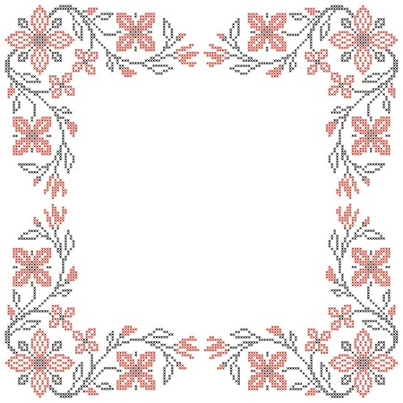 ukraine folk: Floral frame for cross-stitch embroidery in Ukrainian traditional ethnic style  Red and black, vector illustration