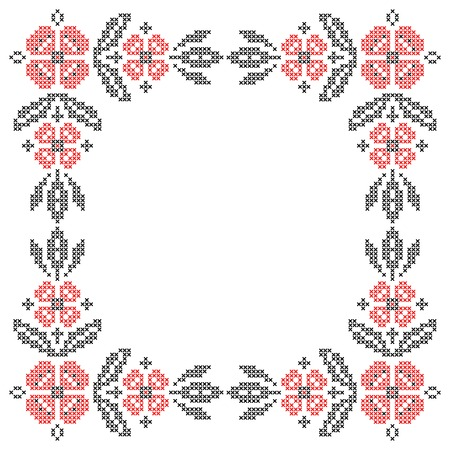 Floral frame for cross-stitch embroidery in Ukrainian traditional ethnic style  Red and black, vector illustration  Vector