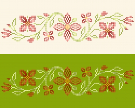 Design elements for cross-stitch embroidery in Ukrainian traditional ethnic style. Red and green, vector illustration. Vector