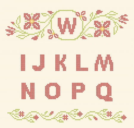 rushnyk: Design elements for cross-stitch embroidery. Red and green, vector illustration. Floral frame for one letter and letters I-Q.