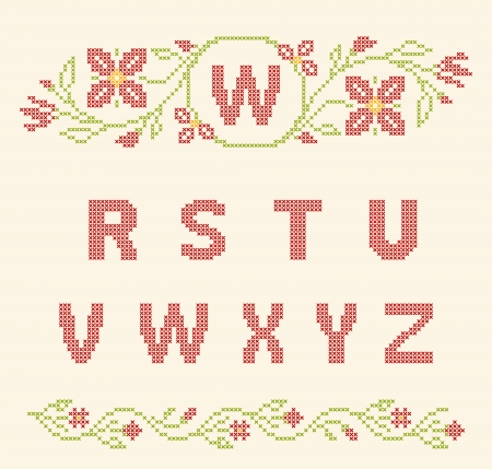 Design elements for cross-stitch embroidery. Red and green, vector illustration. Floral frame for one letter and letters R-Z. Stock Vector - 23081088
