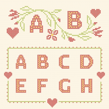 ah: Design elements for cross-stitch embroidery. Red and green, vector illustration. Floral frame for one letter and letters A-H.