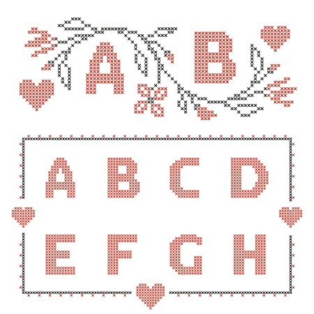 rushnyk: Design elements for cross-stitch embroidery. Red and green, vector illustration. Floral frame for one letter and letters A-H.
