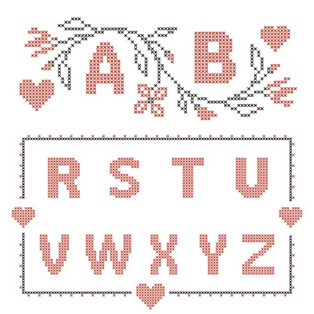 rushnyk: Design elements for cross-stitch embroidery. Red and green, vector illustration. Floral frame for one letter and letters R-Z.