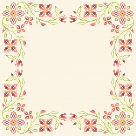 Floral frame for cross-stitch embroidery in Ukrainian traditional ethnic style. Red and green, vector illustration. Vector