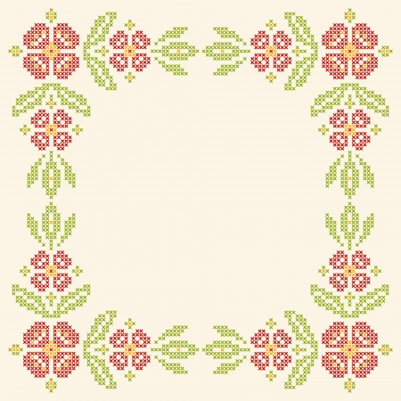 homeware: Floral frame for cross-stitch embroidery in Ukrainian traditional ethnic style. Red and green, vector illustration.