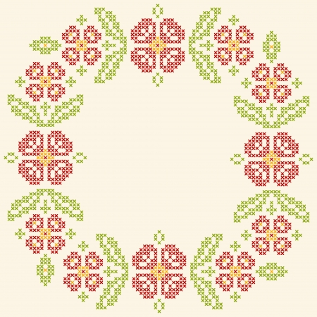 Floral frame for cross-stitch embroidery in Ukrainian traditional ethnic style. Red and green, vector illustration. Stock Vector - 23081099