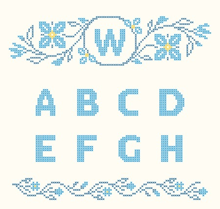 ah: Design elements for cross-stitch embroidery. Blue colors, vector illustration. Floral frame for one letter and letters A-H. Illustration