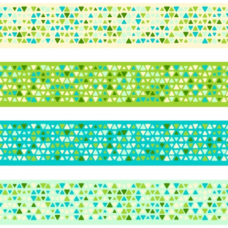Colorful patterned borders with mixed small spots. Seamless vector background
