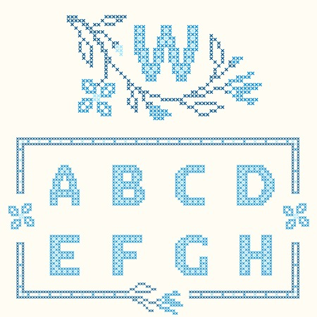 ah: Design elements for cross-stitch embroidery. Blue colors, vector illustration. Floral branch and one letter. Letters A-H. Illustration