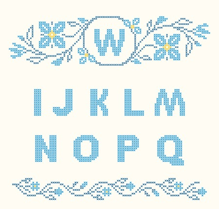 work popular: Design elements for cross-stitch embroidery. Blue colors, vector illustration. Floral frame for one letter and letters I-Q.