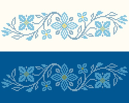 ukraine folk: Design elements for cross-stitch embroidery in Ukrainian traditional ethnic style. Blue colors, vector illustration.