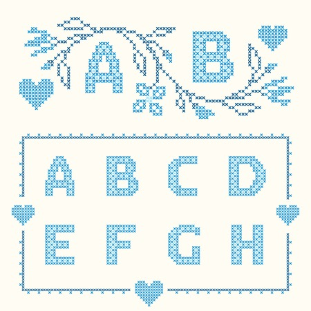 ah: Design elements for cross-stitch embroidery. Blue colors, vector illustration. Floral branch and two letters. Letters A-H.