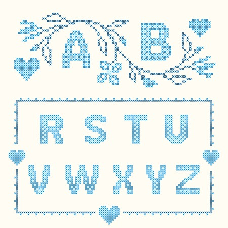 Design elements for cross-stitch embroidery. Blue colors, vector illustration. Floral branch and two letters. Letters R-Z. Vector