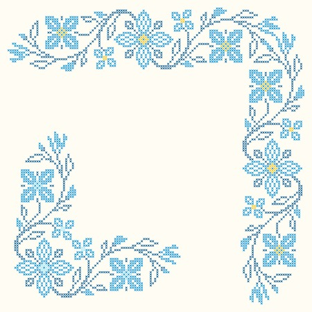Design elements for cross-stitch embroidery in Ukrainian traditional ethnic style. Blue colors, vector illustration.