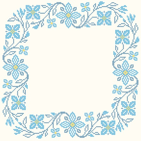 Floral frame for cross-stitch embroidery in Ukrainian traditional ethnic style. Blue colors, vector illustration.