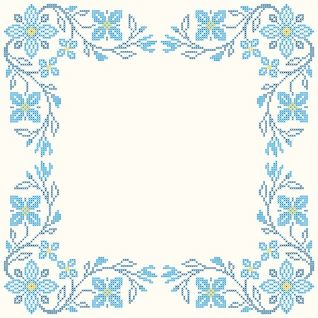 rushnyk: Floral frame for cross-stitch embroidery in Ukrainian traditional ethnic style. Blue colors, vector illustration.
