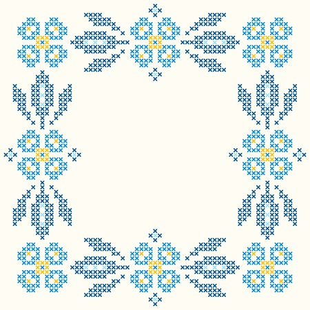 cross stitch: Floral frame for cross-stitch embroidery in Ukrainian traditional ethnic style. Blue colors, vector illustration.