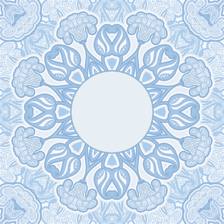 Greeting card with oriental floral pattern and space for text. Vector background in blue colors. Vector