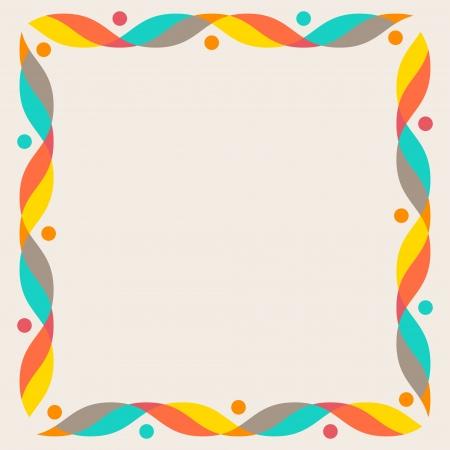 Design elements - colorful waves and dots  Vector frame  illustration