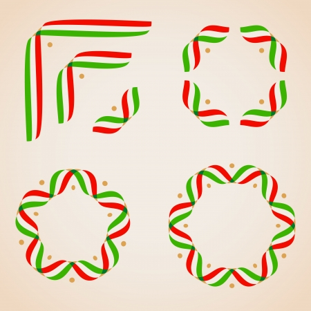 Design elements  with ribbons in italian flag colors  Vector illustration