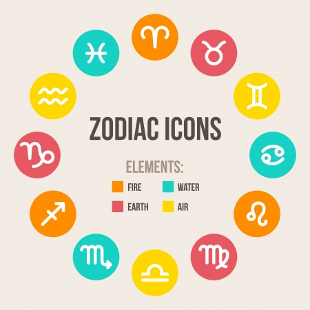 Zodiac signs in circle in flat style. Set of colorful round icons. Vector illustration. Vectores