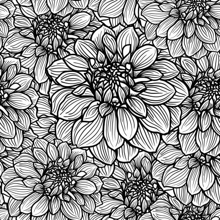 zwart wit tekening: Naadloze achtergrond met de hand getekende Dahlia bloem Zwart en wit, vector illustratie Stock Illustratie