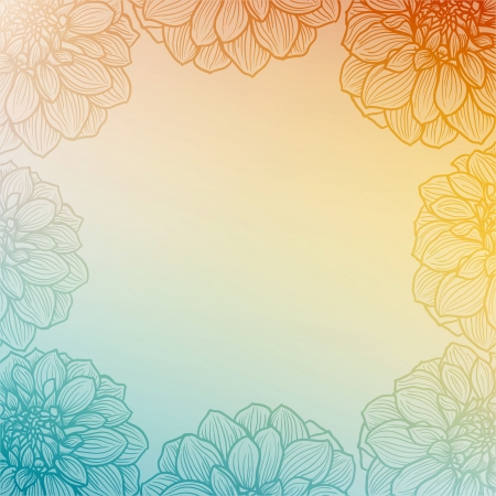 Background with hand drawn Dahlia flower  Soft light  colors, vector illustration  Vector