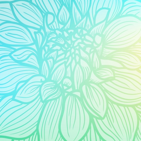 Background with hand drawn Dahlia flower  Soft light blue colors, vector illustration  Vector