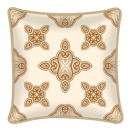 Interior design element: Decorative pillow with patterned pillowcase (traditional oriental pattern on dark background). Isolated on white. Vector illustration. Vector