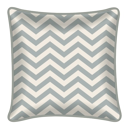 Interior design element: Decorative pillow with patterned pillowcase (chevron pattern). Isolated on white. Vector illustration. Vector