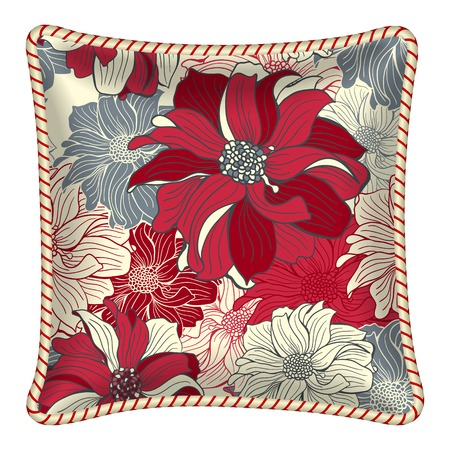 Interior design element: Decorative pillow with patterned pillowcase (floral pattern - Dahlia flowers). Isolated on white. Vector illustration.  イラスト・ベクター素材