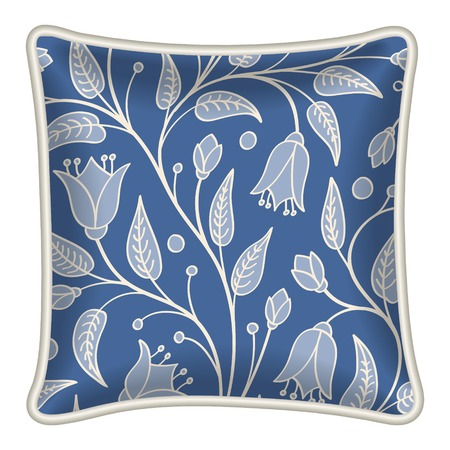 Interior design element  Decorative pillow with patterned pillowcase  natural floral pattern on dark blue background   Isolated on white  Vector illustration  Vector