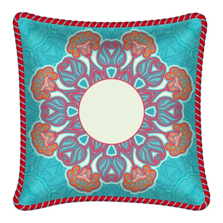 Interior design element  Decorative pillow with patterned pillowcase  colorful oriental pattern   Isolated on white  Vector illustration  Vector