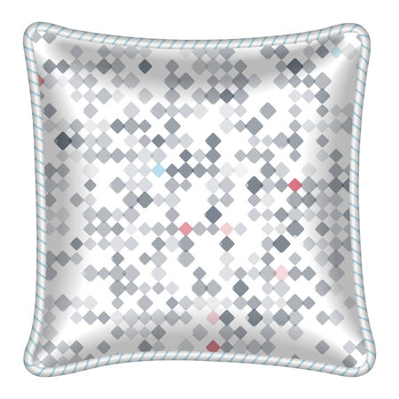 Interior design element: Decorative pillow, patterned pillowcase (small spots geometric pattern). Isolated on white. Vector illustration. Vector