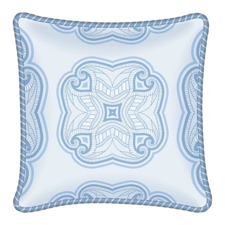 Interior design element: Decorative pillow, patterned pillowcase (traditional oriental pattern). Isolated on white. Vector illustration. Vector