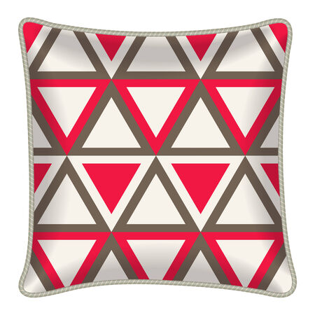 room accent: Interior design element: Decorative pillow, patterned pillowcase (red triangle pattern). Isolated on white. Vector illustration.