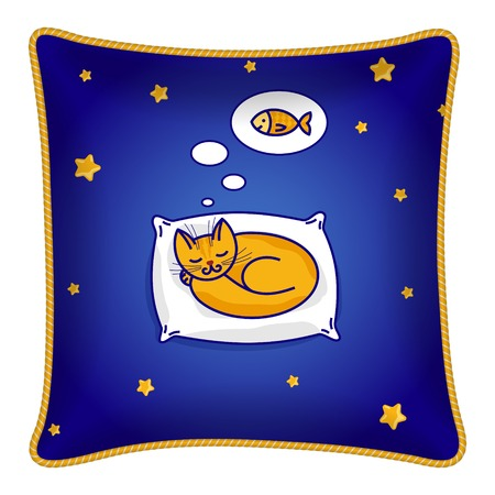 Interior design element: Decorative pillow, patterned pillowcase (sleeping cat, stars, fish). Isolated on white. Vector illustration. Vector